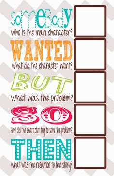 I love this...summarizing reading chart with squares for post-its.