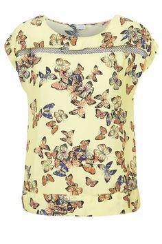 Blusa amplia de cuello redondo con estampado de mariposasy una franja de gasa en la parte delantera y trasera.Largo : 70 cm en talla 44Corte : AmplioLavado : Lavar a máquina