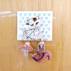 【受注制作】ふらふらピアス Lサイズ「栗鼠と茸」fp-l-06