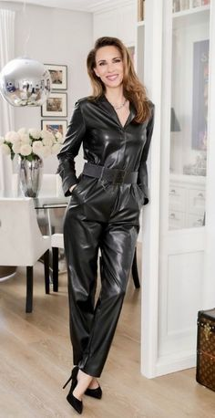 Black Leather Pants, Leather Jacket, Fall Outfits, Fashion Outfits, Womens Fashion, Catsuit, Shirt Outfit, Kinky, Overalls