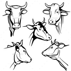 Buy Isolated Cow Head Vector Portraits by MicrovOne on GraphicRiver. Isolated cow head vector portraits, cattle faces for farm natural dairy products packing. Silhouette Logo, Logo Abstrait, Farm Cartoon, Cow Illustration, Cow Drawing, Face Stencils, Cow Vector, Holstein Cows, Vintage Logo