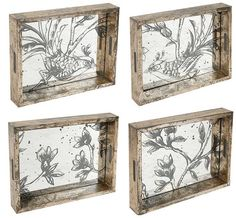 "Etched Glass Mirror Serving Tray 12""""x10"""" Set Of 4"