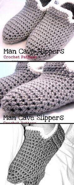 New crochet patterns slippers men christmas gifts ideas Slouch Hat Crochet Pattern, Crochet Kids Scarf, Granny Square Crochet Pattern, Crochet Gloves, Crochet Flower Patterns, Crochet Baby Booties, Crochet Purses, Crochet Slippers, Crochet For Kids