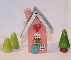 Little Clay House in Pink with Blue Door by HeartHomes on Etsy