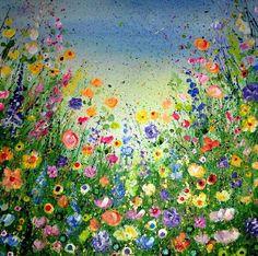 Custom Floral Art, Original Flower Painting, Wild Flower Painting, Mixed Media Wild Flowers, Glitter Painting, Textured Wall Art, OOAK art