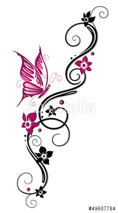 Vector: Ranke, flora, Blüten, Schmetterlinge, schwarz, pink