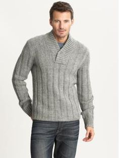 Ribbed shawl-collar sweater