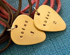 Unique Matching Necklace  Guitar Pick Necklace Set  by PickityPick