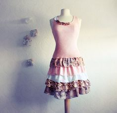 Shabby Chic Dresses | Upcycled Shabby Chic Dress Pink Brown Womens Clothing Drop Waist ...