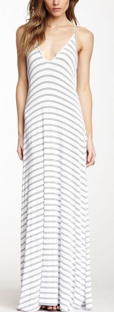 Simple Striped V-Neck Maxi Dress, pair this with a jean jacket and you're ready to go!