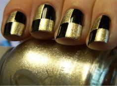 Black and Gold Chess Nails Tutorial