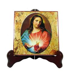 #Catholic gift idea Sacred Heart of Jesus icon on ceramic tile.  Now available in two sizes in my Etsy Store.  https://www.etsy.com/it/listing/550818619/christian-gifts-sacred-heart-of-jesus