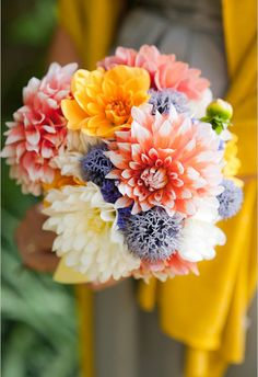 These cheery blooms symbolise eternal grace, creativity and also a new chapter in life - perfect for your wedding bouquet. Here, the prettiest ways to feature the flower in your wedding bouquet. Chrysanthemum Bouquet, Dahlia Bouquet, Dahlia Flower, Thistle Bouquet, Summer Wedding Bouquets, Floral Wedding, Bridal Bouquets, Spring Weddings, Wedding Colors