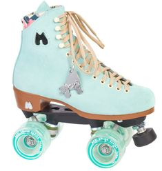 Features: Handmade High Top Suede Boot with Raised Heel, Plate: Powerdyne Nylon Thrust Plate, Wheels: Moxi Tinted 62mm, 78a, Bearings: Kiwi Abec 7 Moxi Roller Skates are a brand of quad-roller skates created by LA roller derby player, Michelle Steilen a.k.a Estro Jen (her Roller Derby alter ego). While roller derby captured the hearts of competetive women, it was Estro's mission to harness the acceptance of all women with a desire to be on wheels and look cute while skating, and that was...
