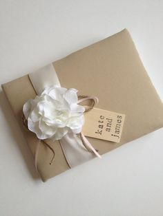 Custom Design Wedding Guest Book - White Hydrangeas - Your Choice of Ribbon Color Combination  - Hand Stamped Tag with Bride and Groom Names