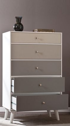 Grey scale color block dresser chest // love this! #furniture_design