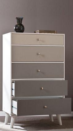 Grey scale color block dresser chest // love this! #furniture_design