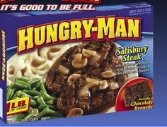 Hungry Man Salisbury Steak  1 ½ lbs. 85% ground beef 1 cup diced onion 1 tbsp minced garlic 2 eggs ¾ cup bread or cracker crumbs 2 cups sliced mushrooms ( for gravy) ½ cup diced mushrooms 2 tbsp flour 16 oz beef  stock  Using butter in pan, add  3/4 diced onion, garlic.and 1/2 cup mushrooms.  Add the meat, eggs , crumbs & form into patties. Cook in pan for 3 mins on each side. Remove & add flour & broth till no lumps for 30 mins. Pour gravy on patties & cover dish with foil  Bake 375 for 45mins