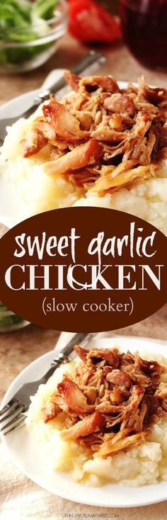 Slow Cooker Sweet Garlic Chicken - a five ingredient chicken dish that cooks in a slow cooker! Perfect for a comfort food dinner on a Sunday or over rice on a weekday.