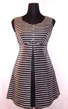 Vintage 60s Mod Black & Silver Lurex Striped Space Age Mini Shift Dress