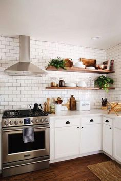 New Darlings - Before and After Tudor Kitchen Remodel - Minimal Modern Far. New Darlings - Before and After Tudor Kitchen Remodel - Minimal Modern Farmhouse Tudor Kitchen, Farmhouse Kitchen Cabinets, Modern Farmhouse Kitchens, Home Kitchens, Rustic Farmhouse, Kitchen Shelves, Farmhouse Ideas, Narrow Kitchen, Colonial Kitchen