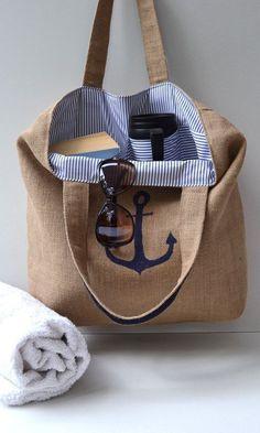 Navy Blue burlap beach bag Tote Bag big bag Women bag Mens Discover women's handbags and bags with A Big Bags, Women's Bags, Purses And Bags, Jean Purses, Sac Michael Kors, Diy Sac, Picnic Bag, Fabric Bags, Beach Tote Bags