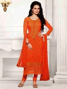 Orange Brasso Suit With Resham And Zari Embroidery Work www.saree.com