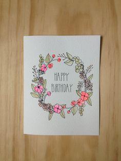 Pretty Cards, Cute Cards, Birthday Card Drawing, Drawn Birthday Cards, Calligraphy Cards, Hand Drawn Cards, Karten Diy, Bday Cards, Fancy Fonts