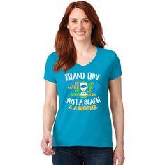 Ladies Island Jay's Island Time V-Neck T-Shirt - IslandJay