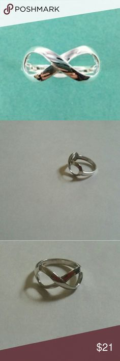Sterling silver infinity ring This is your sterling silver infinity ring available in sizes 5 through 10 marked 925.  This is the best quality of sterling silver you can buy! The weight of this ring is  2.2 grams of sterling silver and the width is 9 mm. Jewelry Rings