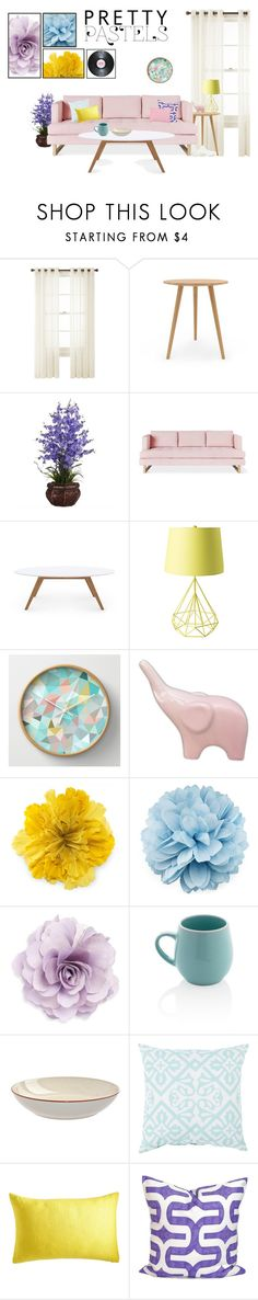 """""""Pastel Home Decor"""" by taylorgarcia-iii ❤ liked on Polyvore featuring interior, interiors, interior design, home, home decor, interior decorating, Royal Velvet, Nearly Natural, Gus* Modern and Rove Concepts"""