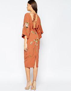 Image 2 of ASOS TALL Kimono Midi Dress With Embroidery                                                                                                                                                                                 More