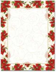 Poinsettia Swirl Christmas Stationery Christmas Letterhead Package Quantity: 100 or 25 Stock: White Bond Size: x Laser and InkJet Compatible Christmas Poinsettia and Holiday Themed Letterhead Christmas Frames, Christmas Paper, Christmas Cards, Christmas Poinsettia, Christmas Letterhead, Christmas Stationery, Free Christmas Borders, Holiday Party Invitations, Stationery Paper