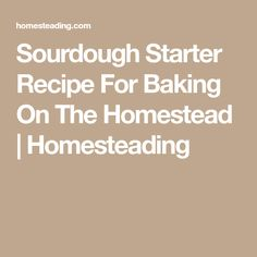 Sourdough Starter Recipe For Baking On The Homestead | Homesteading