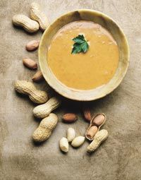 Cream of Peanut Soup (a favorite dish of George Washington) – from King's Arms Tavern Colonial Williamsburg, Williamsburg, Virginia This tastes even better the next day! Don't forget a few dashes of White pepper and cayenne -delish! Puree some carrot in the stock (if using unsweetened PB then added 1tsp of brown sugar) too. This soup is even better the next day!