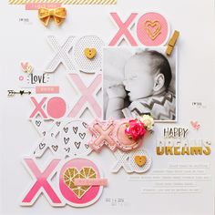 12 X 12 SCRAPBOOK LAYOUT ~ Such a pretty page, love the black & white photo with Pink XOs.