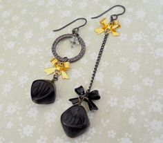 Black & Gold Bow Mismatch Earrings by MyBeadedTreasures on Etsy
