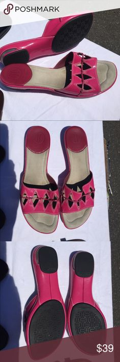 Pink patent sandals SZ 8.5 M Cole Haan, Nike Air Gorgeous and very comfortable high end dressy casual sandals have very light wear and will be cleaned prior to shipping.  True to size.  My sister can't wear since foot surgery, poor thing!   These are a great deep pink! Cole Haan Shoes Sandals