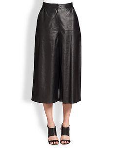 saks fifth avenue - black leather culottes (aka gauchos )