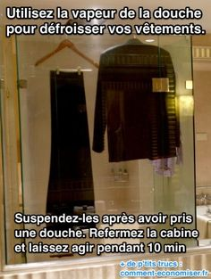 Il existe une astuce de grand-mère efficace pour défroisser vos vêtements sans fer à repasser.  Découvrez l'astuce ici : http://www.comment-economiser.fr/comment-defroisser-un-vetement-sans-fer-a-repasser.html?utm_content=bufferae18d&utm_medium=social&utm_source=pinterest.com&utm_campaign=buffer