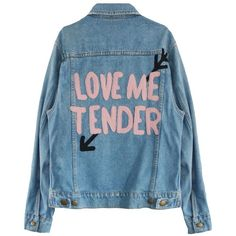 LOVE ME TENDER DENIM JACKET (3.445 UYU) ❤ liked on Polyvore featuring outerwear, jackets, tops, coats, blue denim jacket, blue jean jacket, denim jackets, blue jackets and jean jacket