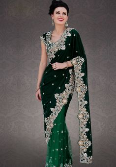 Dark Green Velvet and Net Saree with Blouse Online Shopping: SDE55