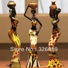 Gratis verzending hars volkskunst liefde 3 Afrikaanse meisjes home decor hars…