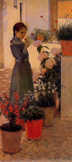 La niña de la clavelina oil on canvas by Santiago Rusiñol