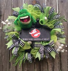 Ghostbuster slimmer wreath.    Hey, I found this really awesome Etsy listing at https://www.etsy.com/listing/246035507/halloween-wreath-halloween-door