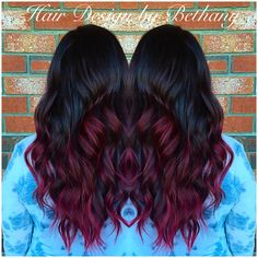 Red hair, Balayage, color melt, ombre, Sombre, red curls, violet red, long hair, shiny red.