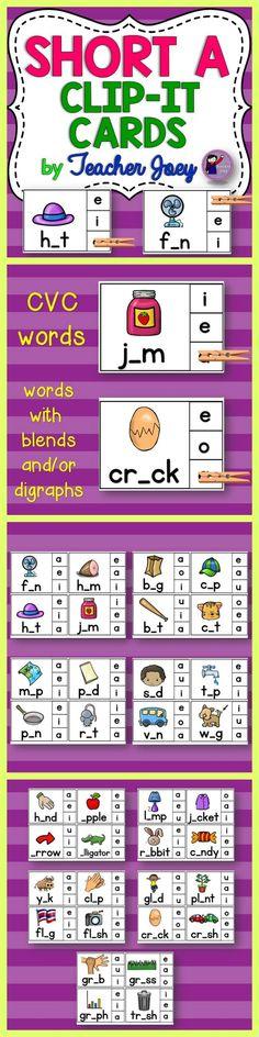 Short A Clip-it Cards Phonics Centers #teacherspayteachers #backtoschool