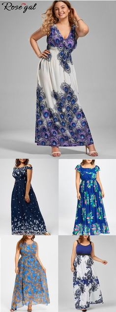 98397ae4b23 Use code  RG188 get more discount.Plus Size Feather Print Maxi Chiffon Dress .