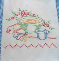 Hand Embroidered Dishtowel LOVE!!