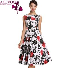 Find More Dresses Information about ACEVOG Brand S   4XL Women Dress Retro Vintage 1950s 60s Rockabilly Floral Swing Summer Dresses Elegant Bow knot Tunic Vestidos,High Quality dress fishnet,China dress pewter Suppliers, Cheap dress cocktail dress from ACEVOG Brand Official Store on Aliexpress.com